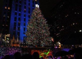 Mayor Michael Bloomberg turned on the Rockefeller Center Christmas tree lights