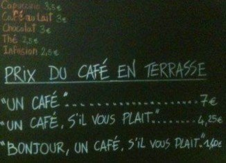 Price list at Le Petite Syrah cafe in Nice