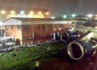 The British Airways flight to London was taxiing at OR Tambo International Airport when its right wing hit the building