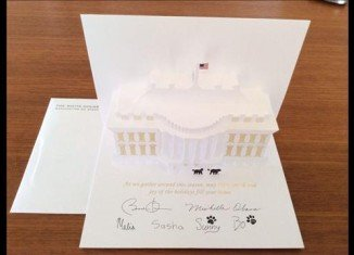 The White House has unveiled this year's Christmas card featuring dogs Bo and Sunny