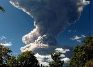 Chaparrastique volcano started erupting on Sunday morning, spewing ash and gases