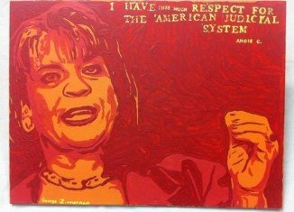 George Zimmerman's artwork titled Angie uses shades of red and orange to depict northeast Florida state attorney Angela Corey