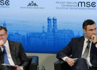 Foreign Minister Leonid Kozhara and opposition leader Vitali Klitschko have clashed face to face at this year's Munich Security Conference