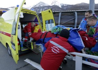 The track worker has been airlifted to hospital after being hit by bobsleigh