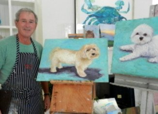 George W. Bush's paintings are to be exhibited for the first time in April at the Texas library and museum that bears his name