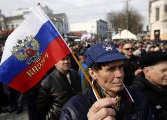 Pro-Russian rally in Simferopol, Crimea
