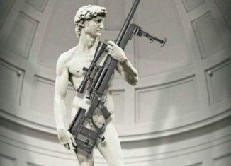 The ArmaLite advertisement showing Michelangelo's David holding a rifle has sparked outrage in Italy