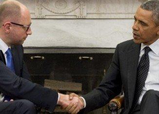 Ukraine's interim PM Arseniy Yatsenyuk met President Barack Obama at the White House