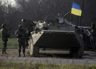 Ukrainian soldiers sent to reclaim locations seized by pro-Russian militia in recent days, have been seen in the centre of Kramatorsk