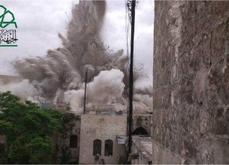 Carlton Citadel Hotel and several other buildings have been destroyed by a huge explosion in the northern Syrian city of Aleppo