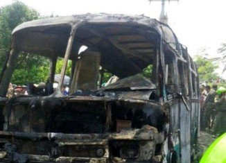It is not known why the fire started, but Colombian media said the bus may have been used for smuggling petrol