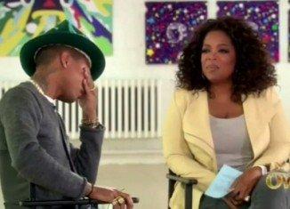 Pharrell Williams crying on Oprah Winfrey's show