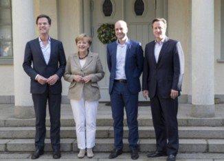Angela Merkel and David Cameron met Sweden's Fredrik Reinfeldt and Dutch PM Mark Rutte at Harpsund mini-summit