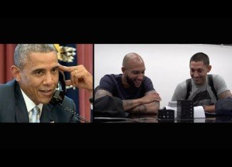 President Barack Obama calling Clint Dempsey and Tim Howard in São Paulo