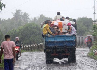 Typhoon Rammasun hit the central Philippines forcing thousands of people to evacuate