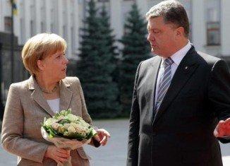 Chancellor Angela Merkel met President Petro Poroschenko in the Ukrainian capital Kiev