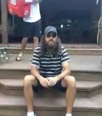 Jase Robertson accepted the Ice Bucket Challenge after being nominated by Tim Tebow and Joba Chamberlain