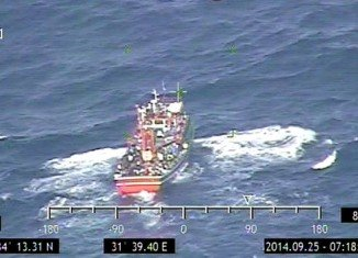 Cypriot authorities said they picked up a radio distress signal as the boat was caught in rough seas