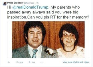 Donald Trump said he may sue the Twitter user who tricked him into retweeting the image of Fred and Rose West