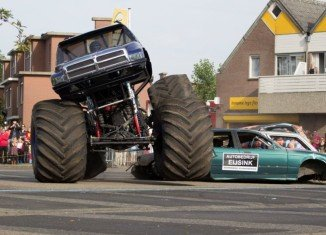 The monster truck had been performing a stunt when it ploughed into the crowd