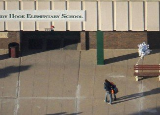 Sandy Hook Elementary School in Monroe, Connecticut, is attended by survivors of the 2012 shooting massacre