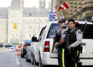 Several shots have been fired inside and outside the Canadian parliament in Ottawa, leaving one soldier wounded