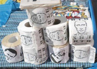 Toilet paper printed with the picture of Vladimir Putin are a popular novelty in Ukraine