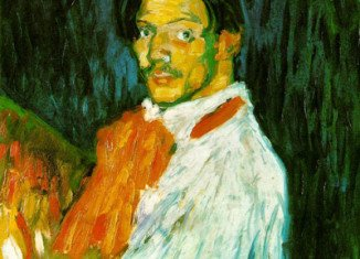 Yo Picasso depicts the Spanish artist and sculptor at the age of 20, looking directly at the viewer while painting by candlelight