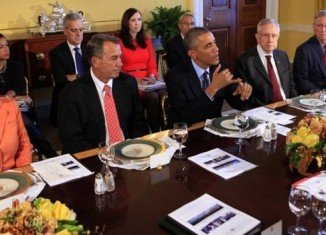 President Barack Obama was joined by the House and Senate leaders in holding cross-party talks aimed at ending political gridlock in Washington